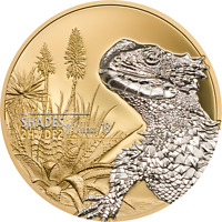 2018 SHADES OF NATURE SUNGAZER LIZARD GOLD GILDED 25G PROOF