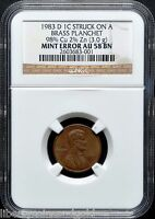 1983 D COPPER PENNY NGC AU 58 BN ULTRA  TRANSITIONAL ERROR   ONLY 2 KNOWN