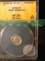 1848 .05 CENT SEATED LIBERTY VF 20 DETAILS ANACS WIREBRUSHED