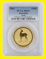 2003 CHINESE LUNAR YEAR OF THE GOAT PCGS MS 70 AUSTRALIA 1 O