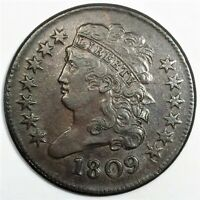 1809 CLASSIC HEAD HALF CENT BEAUTIFUL HIGH GRADE COIN RARE D