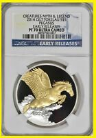 2014 PEGASUS 1 OZ SILVER PEGASUS  GILT NGC   PF 70 EARLY REL