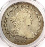 1795 DRAPED BUST SILVER DOLLAR $1 COIN, CENTERED, SMALL EAGLE - PCGS VF DETAIL