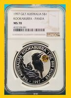 1997 KOOKABURRA 1 OZ SILVER GOLD PANDA PRIVY NGC MS 70 POP 1