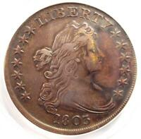 1803 DRAPED BUST SILVER DOLLAR $1 COIN BB-255 B-6 - CERTIFIED ANACS EXTRA FINE 40 DETAILS