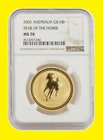 2002 CHINESE LUNAR YEAR OF THE HORSE NGC MS 70 AUSTRALIA 1 O