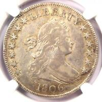 1806 DRAPED BUST HALF DOLLAR 50C COIN - NGC EXTRA FINE 40 EF40 - $2,150 VALUE