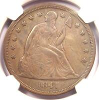 1847 SEATED LIBERTY SILVER DOLLAR $1 - NGC AU DETAILS -  EARLY DATE COIN