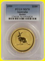 1999 CHINESE LUNAR YEAR OF THE RABBIT PCGS MS 70 AUSTRALIA 1