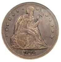 1846 SEATED LIBERTY SILVER DOLLAR $1 COIN - ANACS EXTRA FINE 45 -  - $724 VALUE
