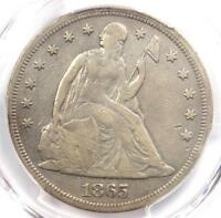 1865 SEATED LIBERTY SILVER DOLLAR $1 - PCGS FINE DETAILS -  CIVIL WAR DATE