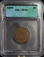 1869 ICG VF40 TWO CENTS 2C COIN