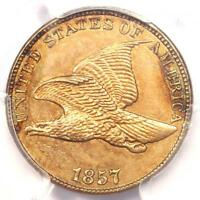 1857 FLYING EAGLE CENT 1C   PCGS UNCIRCULATED DETAILS  UNC MS     PENNY