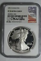 1991 S SILVER EAGLE NGC PF70 ULTRA CAMEO MIKE CASTLE SIGNED LABEL 042