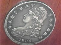 BEAUTIFUL LOOKING 1834 CAPPED BUST HALF DOLLAR - ESTATE FRESH HONEY
