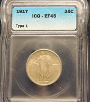 1917 TYPE 1 ICG EF 45 STANDING LIBERTY QUARTER KEY DATEWHOLESALE PRICED