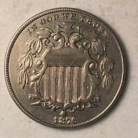 1876 SHIELD NICKEL AU