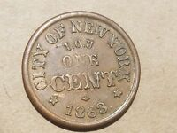 1863 NORWICH CT CITY OF NEW YORK CIVIL WAR RELIC STORE TOKEN F 345AA 1A NICE