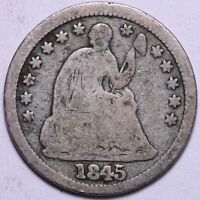1845 SEATED LIBERTY HALF DIME       R6UP