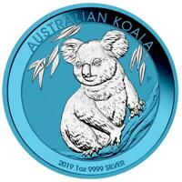 AUSTRALIA 2019 $1 KOALA 1 OZ SILVER COIN SPACE BLUE EDITION