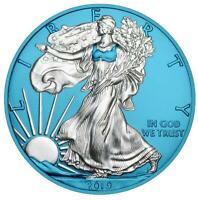 USA 2019 1$ AMERICAN EAGLE 1 OZ SILVER COIN SPACE BLUE EDITI