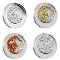 AUSTRALIA LUNAR SILVER COIN SERIES II 2012 YEAR OF THE DRAGO
