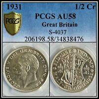 1931 SILVER GREAT BRITAIN HALF CROWN PCGS AU58 ABOUT UNCIRCULATED CLASSIC COIN