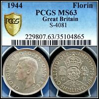 1944 SILVER GREAT BRITAIN FLORIN PCGS MS63 CHOICE UNC BU 2 SHILLINGS UK COIN