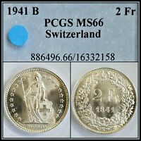 1941 B SILVER SWITZERLAND 2 FRANCS PCGS MS66 GEM BU UNC UNCIRCULATED SWISS COIN