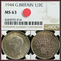 1944 SILVER GREAT BRITAIN HALF CROWN NGC MS63 CHOICE UNC BU VINTAGE CLASSIC COIN