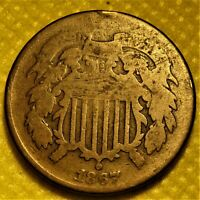 1867 TWO CENT PIECE.  OLD COPPER COIN