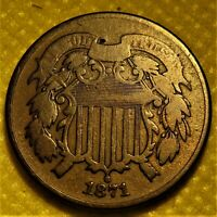 1871 TWO CENT PIECE.  DETAILS ON A SEMI-KEY DATE