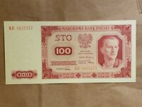 1948 POLAND 100 ZLOTYCH NOTE POLISH ONE HUNDRED ZLOTYS BANKNOTE P 139A UNC CU