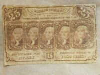 1862 25 CENT FRACTIONAL NOTE FIRST ISSUE BILL FR 1281 1/4 UNION CIVIL WAR RELIC