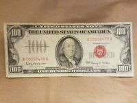 1966 $100 UNITED STATES NOTE RED SEAL BILL LOW SERIAL NUMBER 3 DIGIT  EF XF