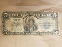 1899 $5 SILVER CERTIFICATE INDIAN CHIEF FR. 280M MULE NOTE BANKNOTE BILL