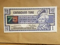 1997 CANADIAN TIRE MONEY $1 BILL NOTE CANADA BANKNOTE 75TH ANNIVERSARY