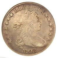 1802 DRAPED BUST SILVER DOLLAR $1 COIN - CERTIFIED ANACS VF20 DETAILS