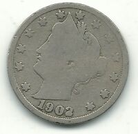 VINTAGE GOOD CONDITION 1902 FILLED 2  LIBERTY HEAD V  NICKEL COIN-JUL319