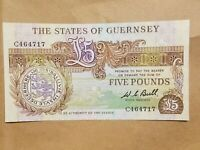 1980   1989 GUERNSEY 5 POUND NOTE BANKNOTE P 49A  CRISP UNCIRCULATED UNC