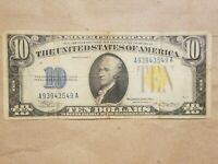 1934 A NORTH AFRICA $10 SILVER CERTIFICATE WWII WAR RELIC FR 2309 FINE VF