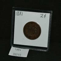 WEST POINT COINS  1871 $0.02 TWO CENT COIN