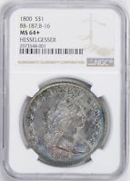 1800 DRAPED BUST $1 NGC MINT STATE 64