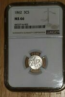 1862 THREE CENT SILVER - NGC MINT STATE 66