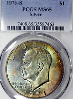 1971-S MINT STATE 65 EISENHOWER DOLLAR $1 IKE, PCGS GRADED, COLORFULLY TONED
