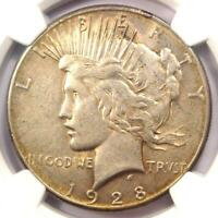 1928 PEACE SILVER DOLLAR $1 - NGC AU55 -  1928-P KEY DATE COIN - NEAR MS UNC