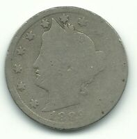 A VINTAGE 1889 LIBERTY HEAD V NICKEL COIN-OLD US COIN-MAY509