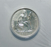 1863 S SEATED LIBERTY DIME  ANACS  AU 58    414