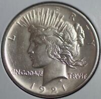 1921 SILVER PEACE DOLLAR S$1 COIN   HIGH RELIEF   KEY DATE