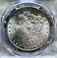 1897 $1 MORGAN SILVER DOLLAR PCGS MS66 & CAC   TONED MONSTER